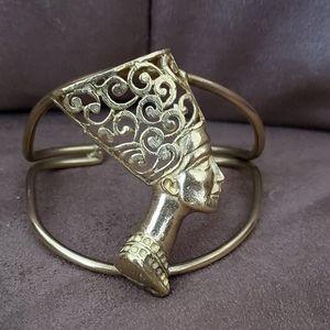 Vintage Brass Queen Nefertiti Bracelet